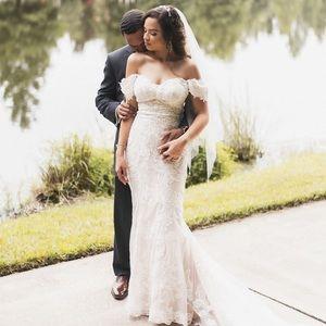 White/Ivory over Blush Lace Mermaid Wedding Dress